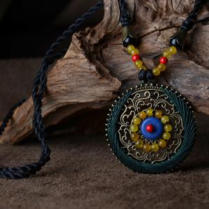 Folk Art Circular Agate Long Necklace Customized Boutique Necklace