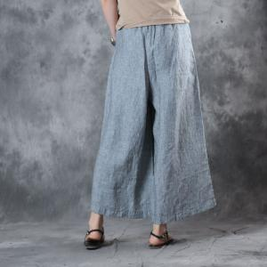 Casual Style Pinstriped Wide Leg Pants Womans Cotton Linen Baggy Trousers