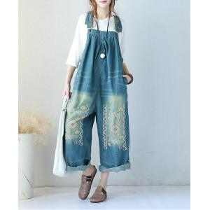 Chinese Folk Embroidered Overalls Denim Wide Leg Jumpsuits