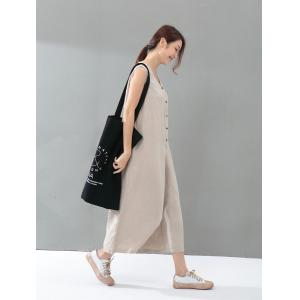 Youthful Single-Breasted Cotton Linen Jumpsuits Summer Plain Baggy Trousers