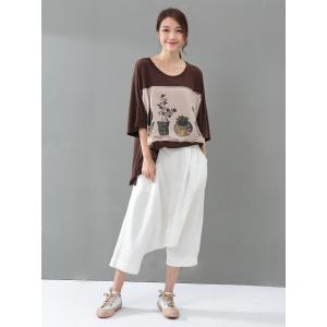 Street Fashion Elastic Waist Linen Genie Pants Womans Baggy Harem Pants