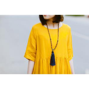 Unique Design Empire-Waist Soft Linen Dress Summer Expansion Customized Dress