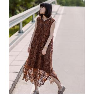 High-End  Hollow Lace Dress Stereo Flowers Asymmetric Customized Dress