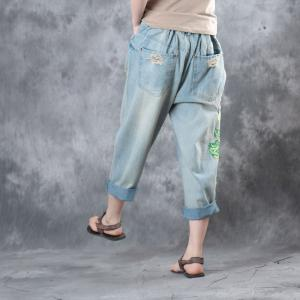 Vintage Style Chinese Embroidered Jeans Womans Wide Leg Ripped Jeans
