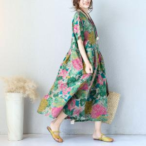 Flowers Print Linen Maxi Dress Chinese Plus Size Senior Woman Dress