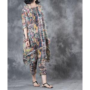 Vintage Style Abstract Print Long Blouse With Silk Linen Baggy Pants