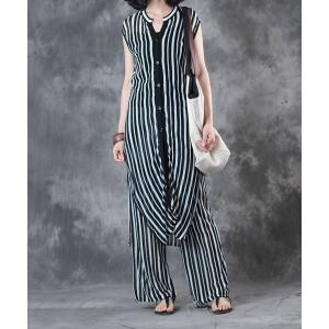 2017 Latest Fashion Striped Loose Long Cardigan With Linen Baggy Trousers