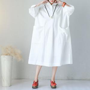 Korean Style Front Pockets Oversized Shirt Dress Letter Embroidered White Dress