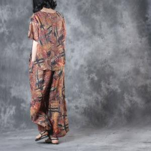 Over 50 Style Print Linen Blouse With Vintage Wide Leg Trousers