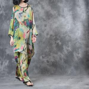 Vintage Style Lotus Print Long Loose Blouse With Silk Satin Wide Leg Pants