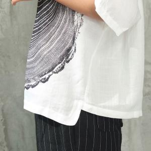 Annual Ring Oversized T-shirt Womans Summer Linen White Tee