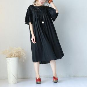2017 Summer Flare Sleeve Pleated Pregnancy Dress Plus Size Cotton Dress