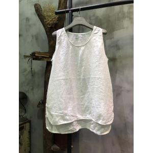 Low-Cost Asymmetric Linen Camisole Womans Causal Tank Top