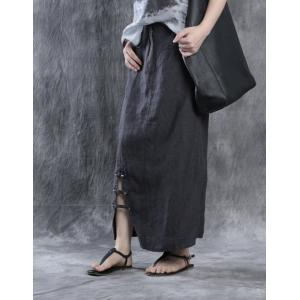 New Arrival Hem Slit Designer Midi Skirt Cotton Linen Pinstriped Skirt