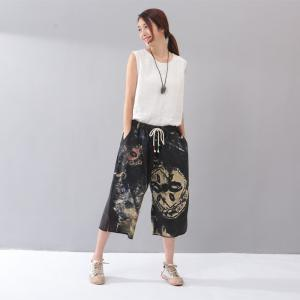 Vintage Abstract Print Wide Leg Trousers Womans Cotton Cropped Pants