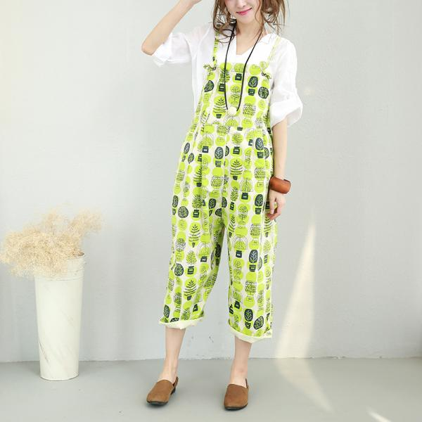 Youthful Tree Printing Baggy Jumpsuits Summer Cotton Rompers