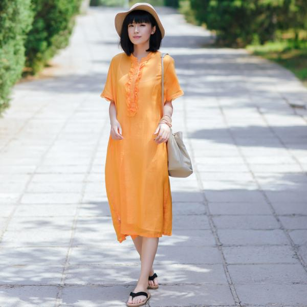 Girlish Ruffle Collar Summer Clothes Linen Oversized Shirt Dress