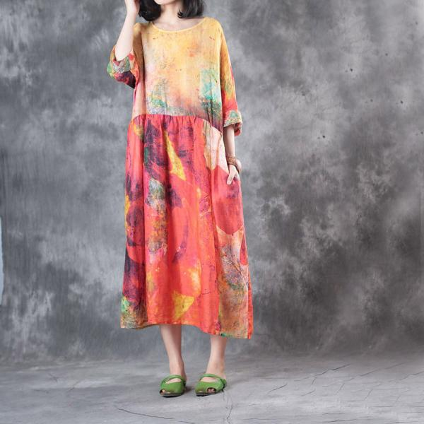 Empire-Waist Colorful Prints Soft Linen Dress Loose Vacation Dress