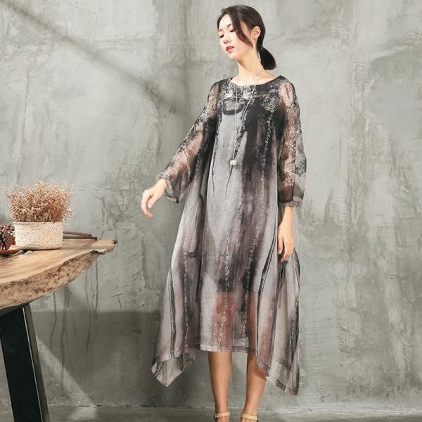 Chinese Ink Painting Beautiful Chiffon Dress Asymmetric Plus Size Dress With Camisole