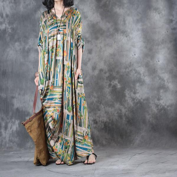 High-End Colorful Stripes Silk Satin Designer Dress Pleated Plus Size Maxi Dress