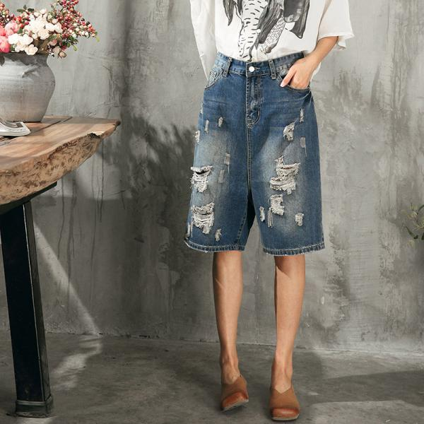 Street Fashion Hollow Out Ripped Jeans Womans Baggy Denim Shorts