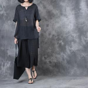 See-Through Silk Linen Plus Size Blouse With Wide Leg Cropped Pants