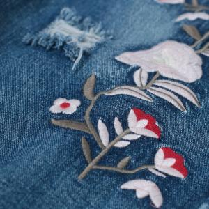 Latest Fashion Raw Hem Flowers Embroidered Jeans Half Length Ripped Jeans