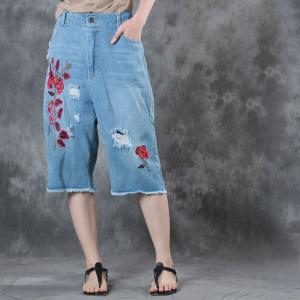 Best-Selling Rose Embroidered Jeans Womans Baggy Ripped Jeans