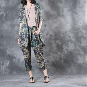 Ladylike Branch Printing Blazers With Woman Ramie Trousers
