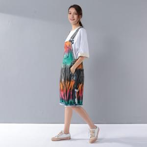 Street Style Colorful Printing Short Jumpsuits Summer Fashion Rompers