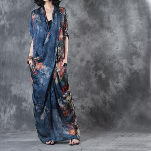 Front Cross Vintage Prints Chiffon Dress Summer Designer Maxi Dress With Camisole