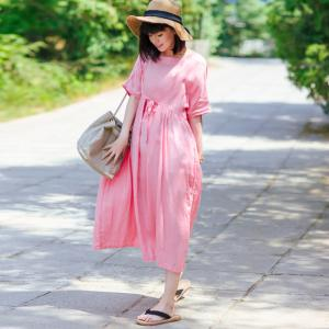 Solid Color Lace-Up Waist Plus Size Linen Dress Beautiful Cruise Dress