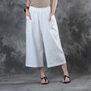 Casual Style Straight Pockets White Pants Womans Linen Cropped Pants