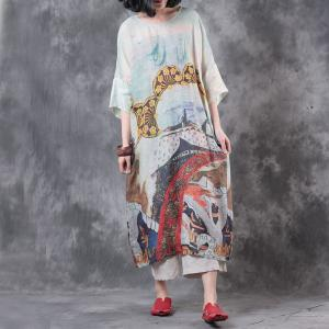 Ethnic Print Loose Soft Linen Dress Summer Vintage Vacation Dress