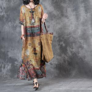 Soft Linen Totem Print Vintage Dress Side Slit Loose Customized Resort Dress