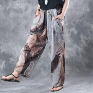 Vintage Prints Long Ramie Oversized Shirt With Casual Baggy Pants