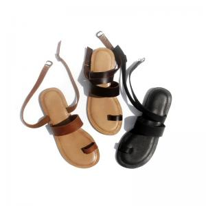 New Arrivals Cowhide Gladiator Sandals Womans Summer Beach Flats
