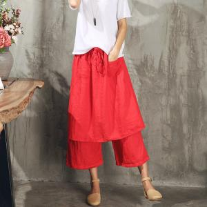 Original Design Double Layered Baggy Trousers Womans Linen Wide Leg Pants