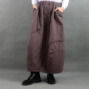 Latest Fashion Elastic Waist Baggy Skirt  Loose Quilted Cotton Skirt