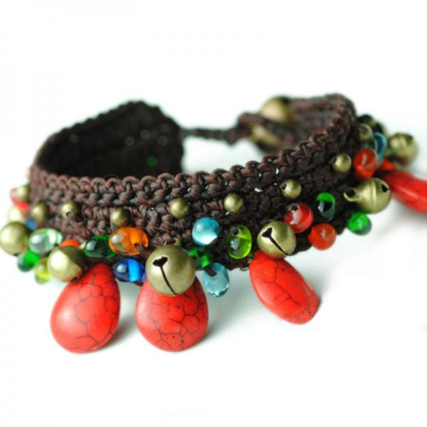 Folk Style Colored Glaze Bohemian Anklet Bells Edges Foots Jewelry