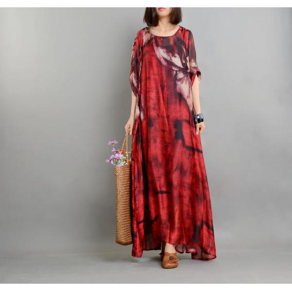 Loose-Fitting Flowers Prints Plus Size Maxi Dress Womans Beautiful Dress With Camisole