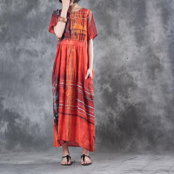 New Arrival Colorful Stripes Loose Linen Dress Slim Waist Holiday Red Dress