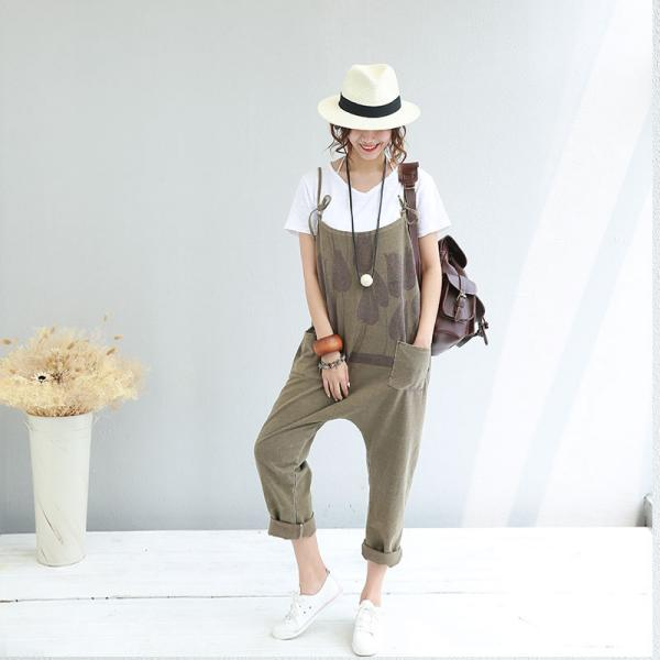 Street Fashion Front Pockets Cotton Jumpsuits Color Faded Casual Jumpsuits