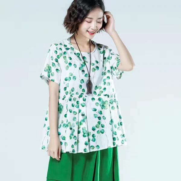 New Arrival Ramie Oversized Blouse Leaf Printed Ladies Shirt