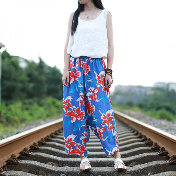 Ladylike Flowers Printed Baggy Trousers Linen Comfortable Wide Leg Pants