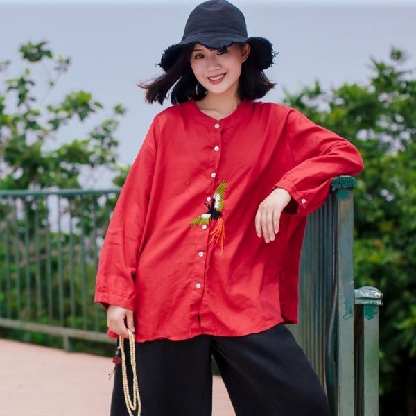 Phoenix Embroidered Designer Blouse Oversized Linen Ladies Shirt