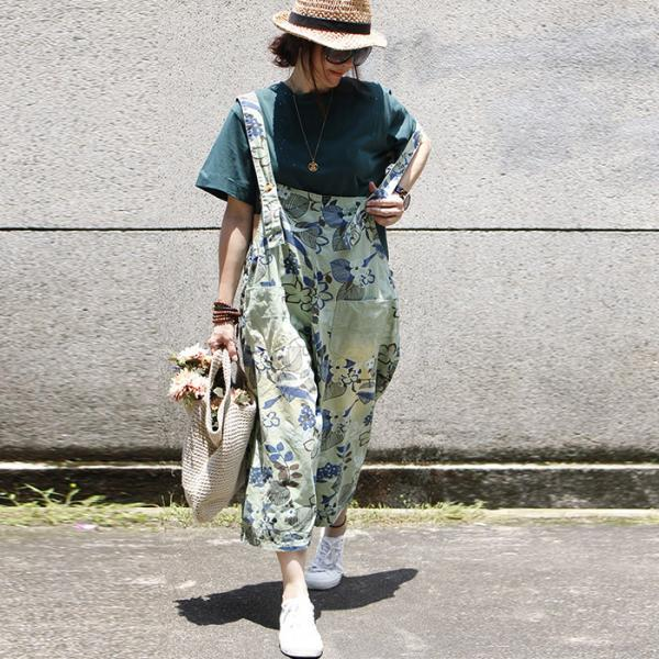 Street Style Front Pockets Floral Fashion Jumpsuits Ripped Baggy Trousers