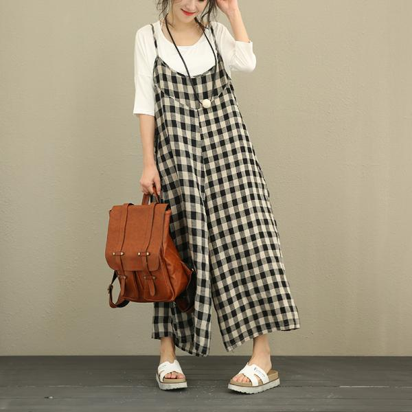 Ladylike Grid Prints Ramie Casual Jumpsuits Summer Wide Leg Jumpsuits