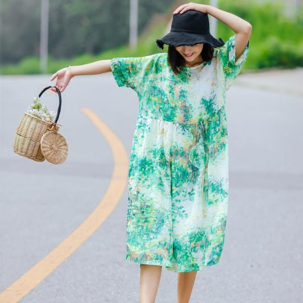 Latest Fashion Green Printed Linen Dress Comfortable Loose Vacation Dress