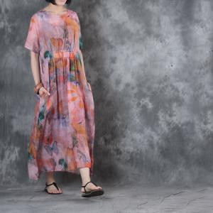 Lovely Butterfly Printed Linen Dress Loose Holiday Dress